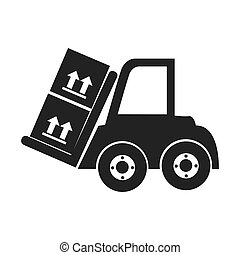 monochrome silhouette with forklift truck with forks and boxes