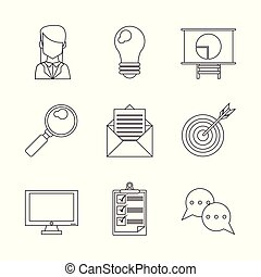 monochrome silhouette with icons set in the process of business idea