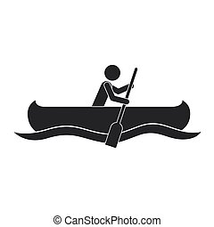 monochrome silhouette with man paddling in canoe