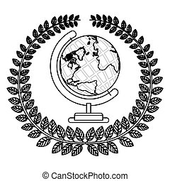 monochrome silhouette with olive crown with earth world map