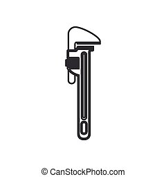 monochrome silhouette with pipe wrench vector illustration