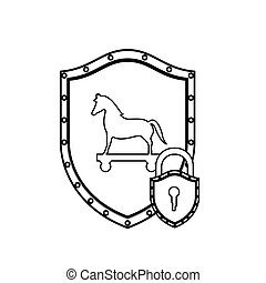 monochrome silhouette with shield with trojan horse and padlock