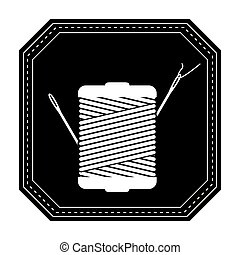 monochrome silhouette with thread spool and sewing needle in frame