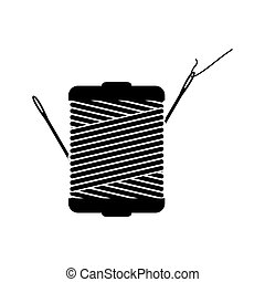 monochrome silhouette with thread spool and sewing needle