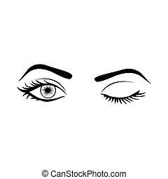 monochrome silhouette with wink woman eye