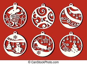 monochrome, simple, cuttinng., laser, noël, dessin, cerf, balle, set., rat, décoratif, bonhomme de neige