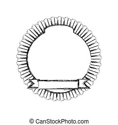 monochrome sketch of circular emblem with ribbon in the bottom side