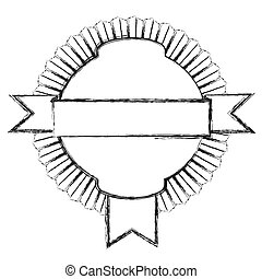 monochrome sketch of circular emblem with ribbon in the middle