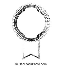 monochrome sketch of circular emblem with wide ribbon in the bottom side