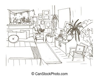 Monochrome sketch of comfortable bedroom furnished in...