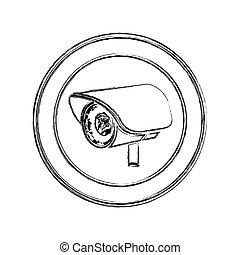 monochrome sketch of exterior video security camera in circular frame