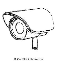 monochrome sketch of exterior video security camera