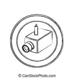 monochrome sketch of interior video security camera in circular frame