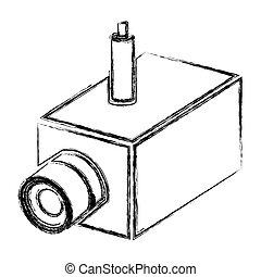 monochrome sketch of interior video security camera