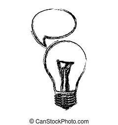 monochrome sketch of light bulb with bubble speech