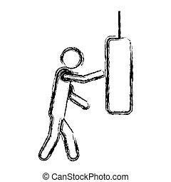 monochrome sketch of man knocking punching bag