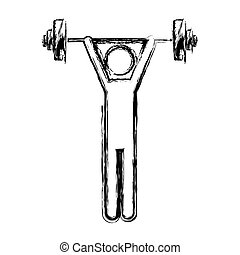 monochrome sketch of man weightlifting