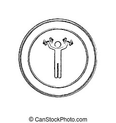 monochrome sketch of man with dumbbell in circular frame