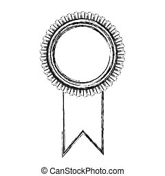 monochrome sketch of medal with ribbon