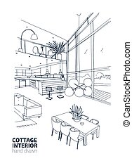 Monochrome sketch of modern country house or summer cottage interior full of trendy furniture. Kitchen and dining room hand drawn with black contour lines on white background. Vector illustration.