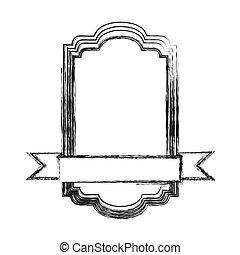 monochrome sketch of rectangular frame with ribbon in the bottom side