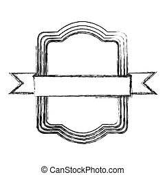 monochrome sketch of rectangular frame with ribbon in the center
