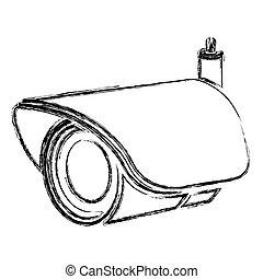 monochrome sketch of security video camera