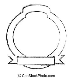 monochrome sketch of simple circular emblem with horizontal ribbon in the bottom side