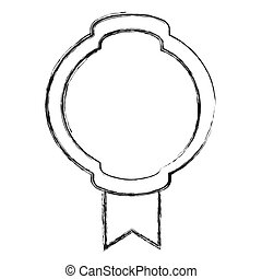 monochrome sketch of simple circular emblem with wide ribbon in the bottom side
