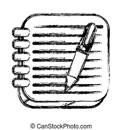 monochrome sketch of square button with spiral notebook and pen