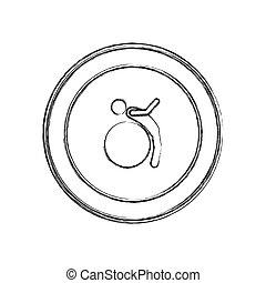 monochrome sketch of training in gym ball in circular frame