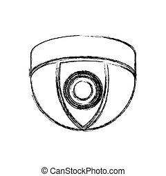 monochrome sketch of video security camera in shape dome