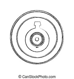 monochrome sketch of video security camera lens in circular frame