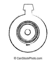 monochrome sketch of video security camera lens