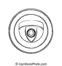 monochrome sketch of video security camera in shape dome in circular frame
