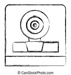 monochrome sketch of webcam in square frame