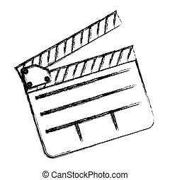 monochrome sketch sticker with clapperboard cinema