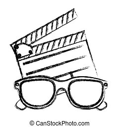 monochrome sketch with clapperboard cinema and 3D cinema glasses