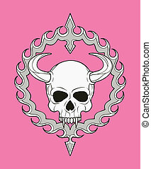 monochrome skull illustration, well organized, easy to rearrange and recolor