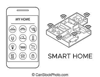 isometric smart home infographic concept  isometric smart