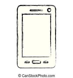 monochrome, smartphone, silhouette, brouillé