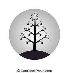 monochrome sphere with christmas tree with garlands