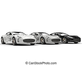 Monochrome sports cars in a row