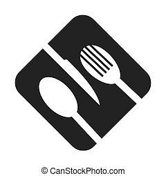 monochrome square frame with cutlery