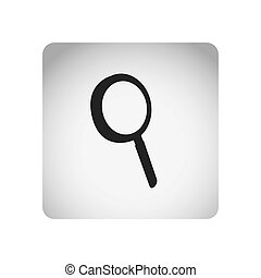 monochrome square frame with silhouette magnifying glass