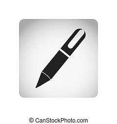 monochrome square frame with silhouette pen icon tool