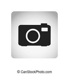 monochrome square frame with silhouette tech digital camera