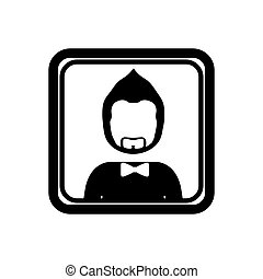 monochrome square with half body man with beard without face and bow tie