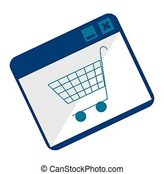 monochrome square with shopping cart