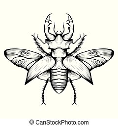 Monochrome stag beetle drawing. Nice and beautiful hand-drawn vector illustration